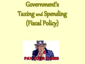 Governments Taxing and Spending Fiscal Policy Taxes Part