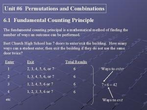 Unit 6 Permutations and Combinations 6 1 Fundamental