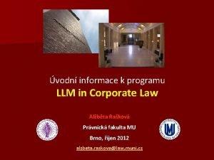 vodn informace k programu LLM in Corporate Law