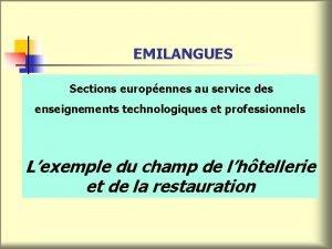 EMILANGUES Sections europennes au service des enseignements technologiques