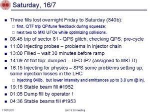 Saturday 167 n Three fills lost overnight Friday