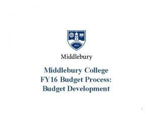 Middlebury College FY 16 Budget Process Budget Development