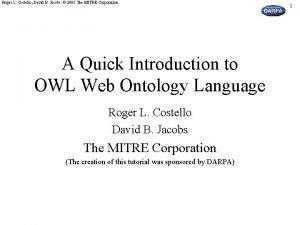 Roger L Costello David B Jacobs 2003 The