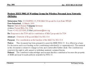 May 2001 doc IEEE 802 15 01232 r