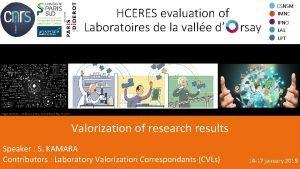 HCERES evaluation of Laboratoires de la valle d