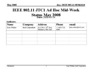 May 2008 doc IEEE 802 11 080642 r