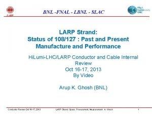 BNL FNAL LBNL SLAC LARP Strand Status of