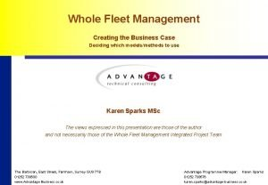 Whole Fleet Management Creating the Business Case Deciding