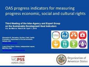 OAS progress indicators for measuring progress economic social