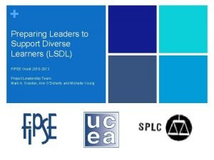 Preparing Leaders to Support Diverse Learners LSDL FIPSE
