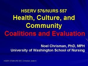 HSERV 576NURS 557 Health Culture and Community Coalitions