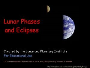 Lunar Phases and Eclipses Created by the Lunar