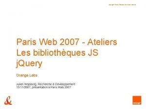 copyright France Tlcom tous droits rservs Paris Web