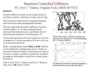 ReactionControlled Diffusion PI Uwe C Tuber Virginia Tech