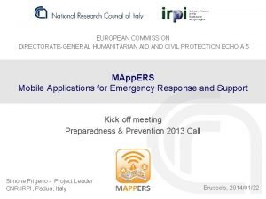 EUROPEAN COMMISSION DIRECTORATEGENERAL HUMANITARIAN AID AND CIVIL PROTECTION