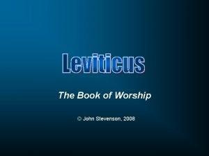 The Book of Worship John Stevenson 2008 Name