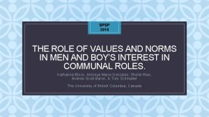 SPSP 2018 THE ROLE OF VALUES AND NORMS