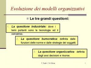 Evoluzione dei modelli organizzativi n Le tre grandi