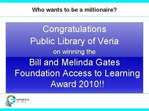 Who wants to be a millionaire Congratulations Public