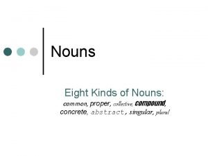Nouns Eight Kinds of Nouns common proper collective