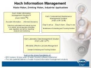 Hach Information Management Waste Water Drinking Water Industrial