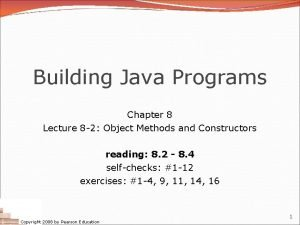 Building Java Programs Chapter 8 Lecture 8 2