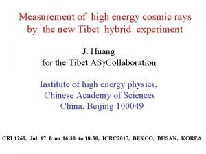 Measurement of high energy cosmic rays by the