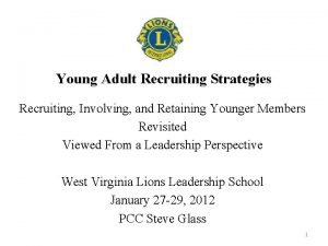 Young Adult Recruiting Strategies Recruiting Involving and Retaining