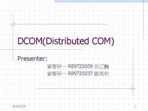 DCOMDistributed COM Presenter R 89725009 R 89725037 9182020