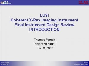 LUSI Coherent XRay Imaging Instrument Final Instrument Design