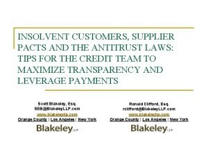 INSOLVENT CUSTOMERS SUPPLIER PACTS AND THE ANTITRUST LAWS