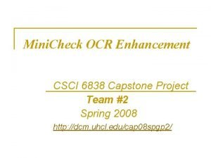 Mini Check OCR Enhancement CSCI 6838 Capstone Project