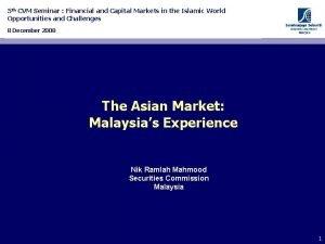 5 th CVM Seminar Financial and Capital Markets