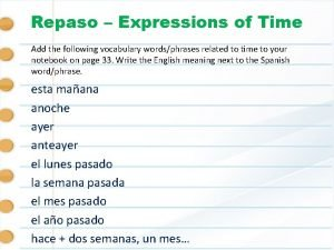 Repaso Expressions of Time Add the following vocabulary