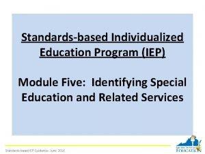 Standardsbased Individualized Education Program IEP Module Five Identifying