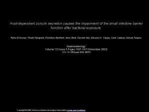Hostdependent zonulin secretion causes the impairment of the