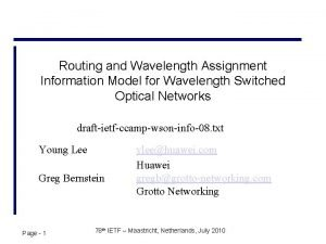Routing and Wavelength Assignment Information Model for Wavelength