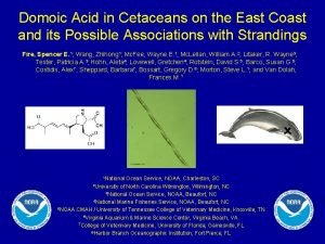 Domoic Acid in Cetaceans on the East Coast