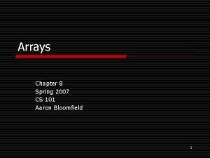 Arrays Chapter 8 Spring 2007 CS 101 Aaron