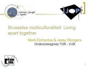Brusselse multiculturaliteit Living apart together Mark Elchardus Jessy