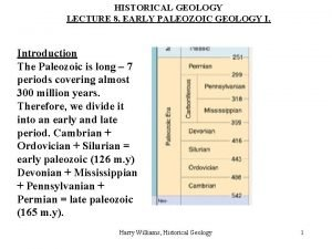 HISTORICAL GEOLOGY LECTURE 8 EARLY PALEOZOIC GEOLOGY I