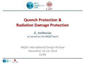 Quench Protection Radiation Damage Protection G Ambrosio on