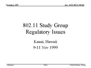 November 1999 doc IEEE 802 11 90266 802