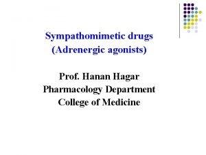 Sympathomimetic drugs Adrenergic agonists Prof Hanan Hagar Pharmacology