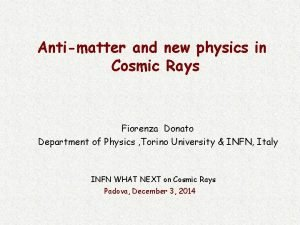 Antimatter and new physics in Cosmic Rays Fiorenza