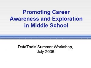 Promoting Career Awareness and Exploration in Middle School