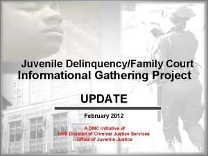 Juvenile DelinquencyFamily Court Informational Gathering Project UPDATE February