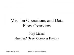Mission Operations and Data Flow Overview Koji Mukai