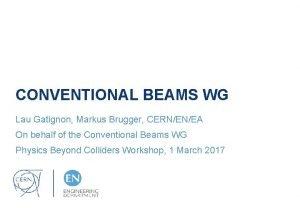 CONVENTIONAL BEAMS WG Lau Gatignon Markus Brugger CERNENEA