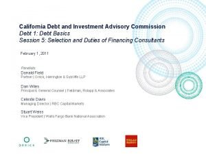 California Debt and Investment Advisory Commission Debt 1